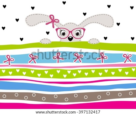 Cute bunny girl wearing glasses on striped background with hearts and ribbons  - stock vector