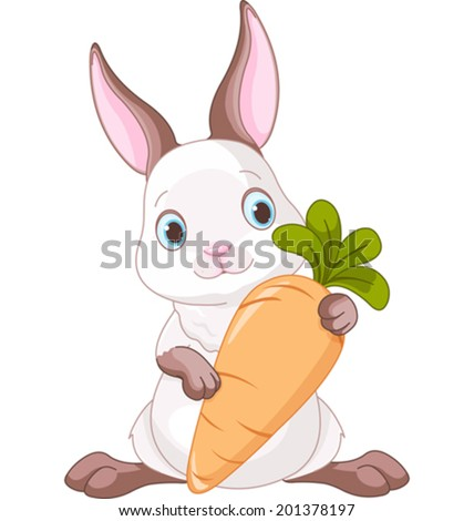Cute bunny holding a large carrot. - stock vector
