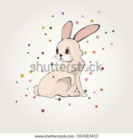 cute bunny rabbit  with colorful confetti. vector illustration - stock vector