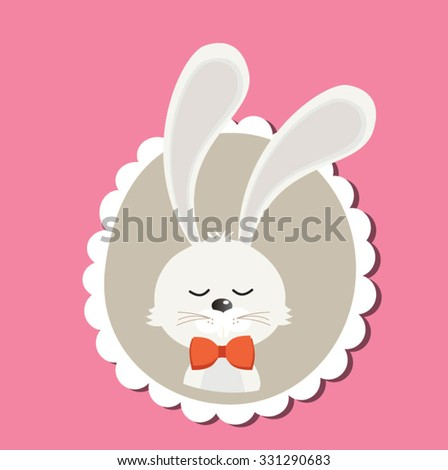 Cute bunny with red bow tie - vector template with copy space - stock vector