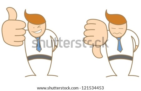 cute business man cartoon character thumbs up thumbs down - stock vector