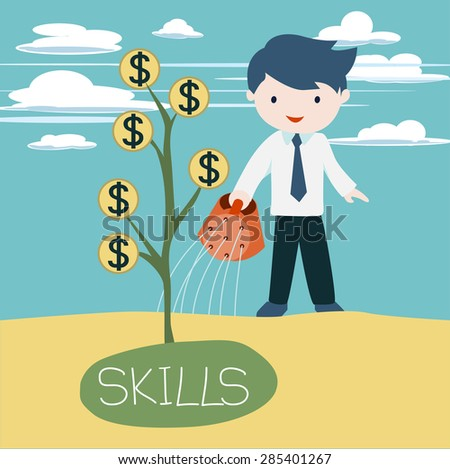 Cute businessman watering the skill tree in order to grow his incomes. - stock vector