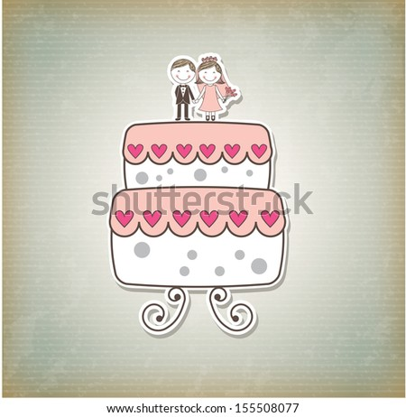 cute cake just married cartoon over pattern background. vector  - stock vector