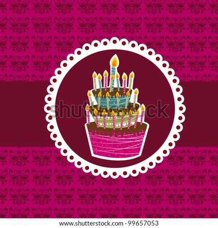 cute cake over violet background. vector illustration - stock vector
