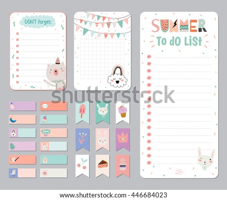 Cute Calendar Daily and Weekly Planner Template. Note Paper and Stickers Set with Vector Funny Animals Illustrations. Good for Kids. Cute Background. Organizer and Schedule with place for Notes. - stock vector