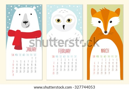 Cute 2016 calendar pages with funny animals characters and thin hand drawn vintage font - stock vector