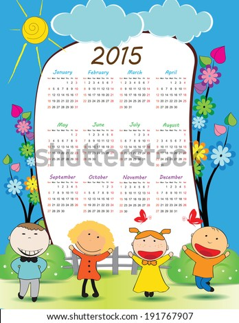 Cute calender on 2015 year with happy kids - stock vector