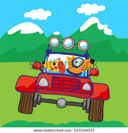 Cute car for off road. Vector illustration - stock vector
