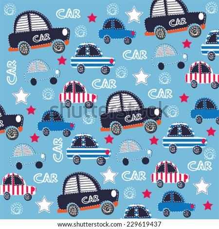 cute car pattern  vector illustration - stock vector