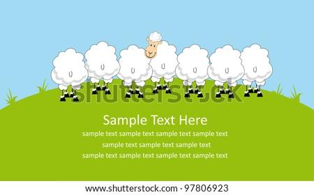cute card design with fun sheep. vector illustration - stock vector