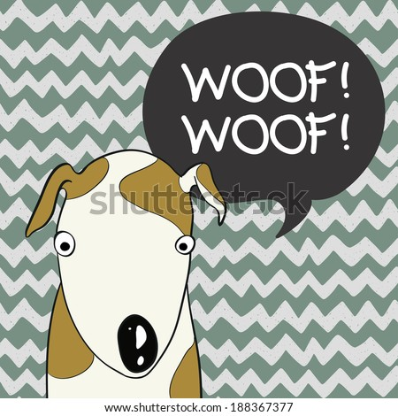 Cute card template with hand drawn cartoon dog and speech bubble chevron background. - stock vector