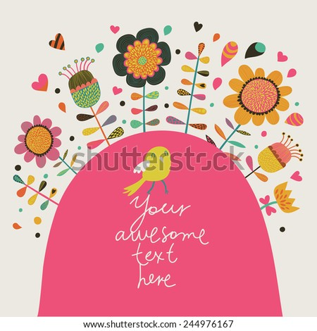 Cute card with bird and flowers in vector. Concept summer invitation in bright colors.  - stock vector