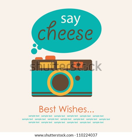 cute card with camera. vector illustration - stock vector