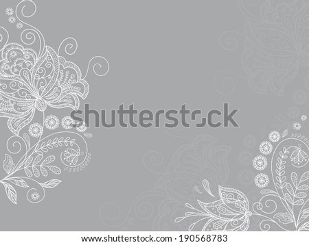 Cute card with flowers branch - stock vector
