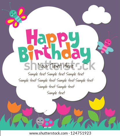 cute card with fun insects. vector illustration - stock vector