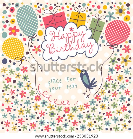 Cute card with gifts, bird, balloons and flowers. Seamless vector background for your design. - stock vector