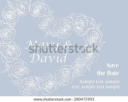 cute card with heart of roses - stock vector