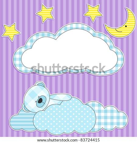 Cute card with sleeping blue teddy bear for boy. - stock vector