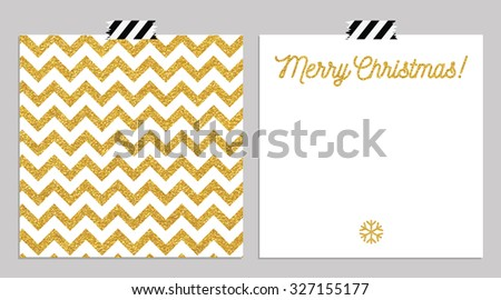 Cute cards with gold pattern and card collection. Perfect for christmas day, new year card and invitation. Could use as seamless pattern - stock vector