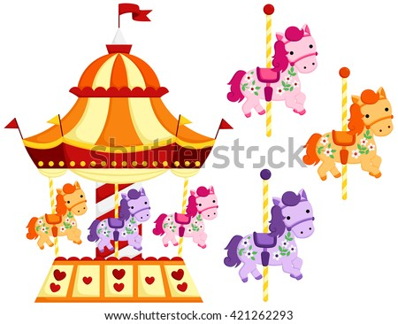 Cute Carousel and Horse - stock vector
