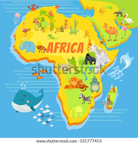 Cute cartoon africa continent map with mountains,rivers,trees and animals.Vector illustration for kids education,poster design. - stock vector
