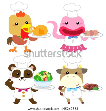 cute cartoon animal cook collection with white background. - stock vector