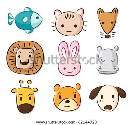 cute cartoon animals - stock vector