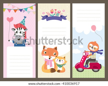 Cute cartoon animals gift tags/ greeting card - stock vector