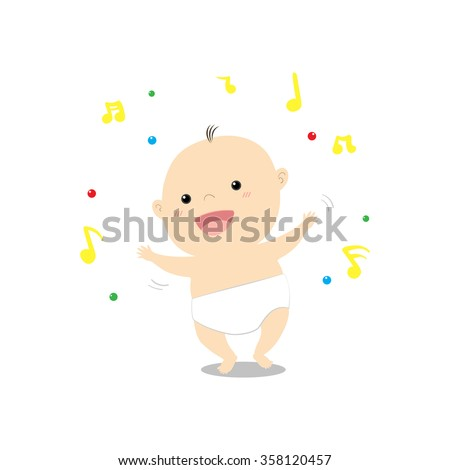 Cute cartoon baby dancing and walking happily on music vector illustration  - stock vector