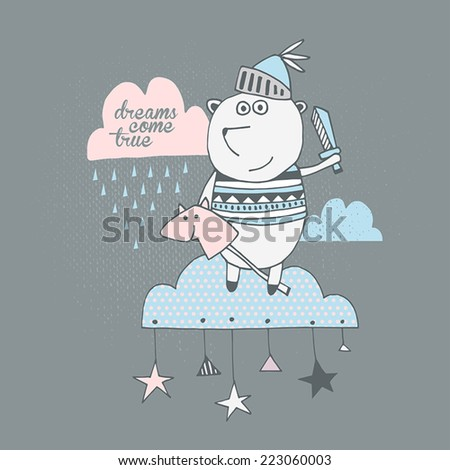 Cute cartoon bear on the sky sweet greeting card. Dreams come true - stock vector