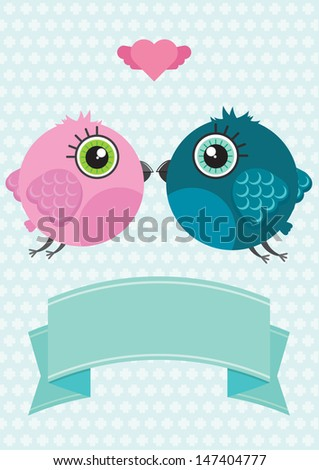 Cute cartoon birds characters with heart above them. The ribbon with space for text message. Pastel blue with pale pattern background. Illustration made in Kawaii style. Vector illustration. - stock vector