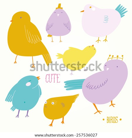 Cute cartoon birds in pastel colors. Lovely birds set. Cute background for kids with birds  - stock vector
