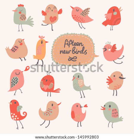 Cute cartoon birds in vector. Funny birds in childish style. 15 small pretty birds in pink colors - stock vector