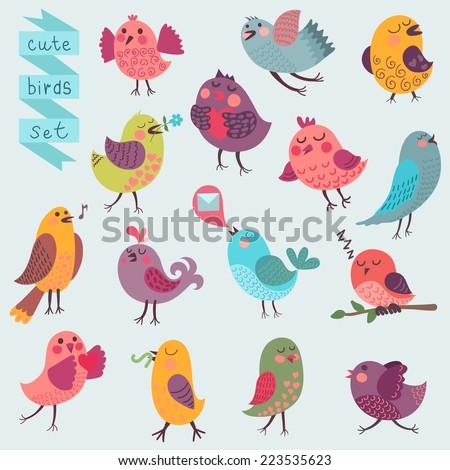 Cute cartoon birds set. Vector illustration - stock vector