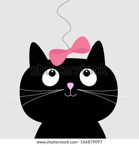 Cute cartoon black cat. Card. Vector illustration.  - stock vector