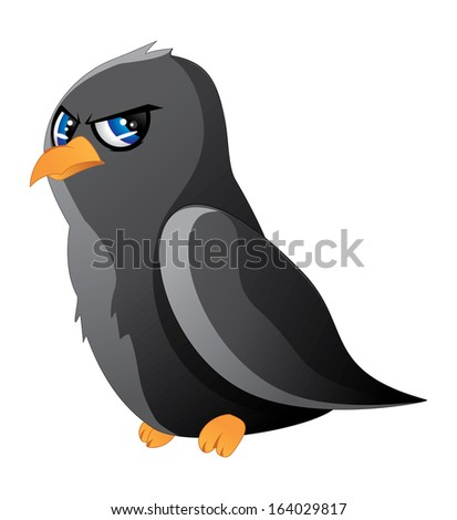 Cute cartoon black raven with blue eyes on white background. - stock vector