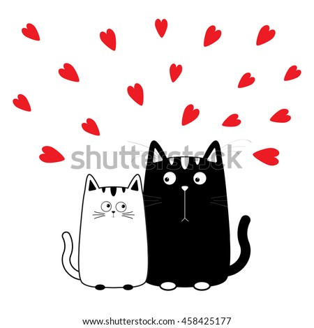 Cute cartoon black white cat boy and girl. Kitty couple on date. Big mustache whisker. Funny character set. Happy family. Love greeting card. Flat design. Heart background Isolated Vector illustration - stock vector
