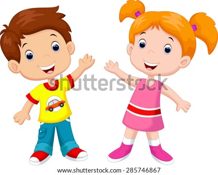 Cute cartoon boy and girl - stock vector