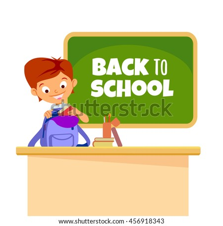 Cute cartoon boy at school classroom. Back to school text.Vector illustration isolated on white background - stock vector