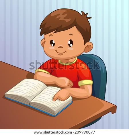 Cute cartoon boy is reading book, vector illustration - stock vector