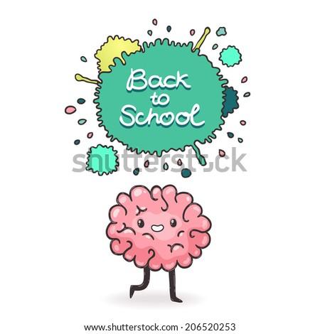 cute cartoon brain and...