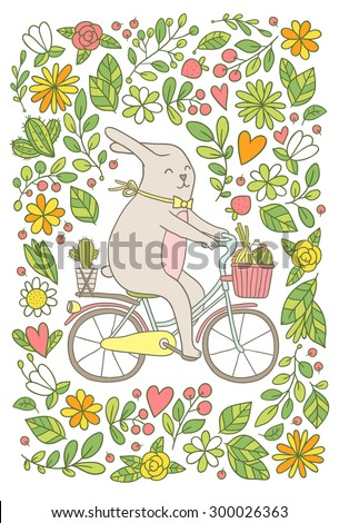 Cute cartoon bunny riding bicycle with fruits and cactus. Adorable animal vector clip art image for your poster, t-shirt design or postcard. - stock vector