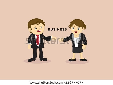 Cute cartoon business partners with eye contact and reaching out arms for presentation. Vector illustration isolated on plain background with copy space - stock vector