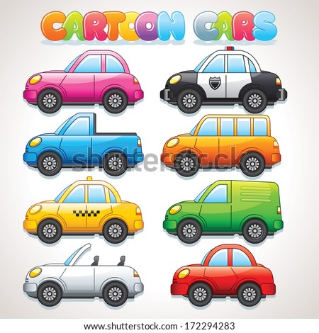 Cute Cartoon Cars. Police, Taxi, Cabrio, Bus, Van and Suv Car. Colorful Vector Clip art - stock vector