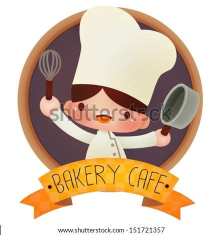 Cute cartoon  chef  - Vector file EPS10 - stock vector
