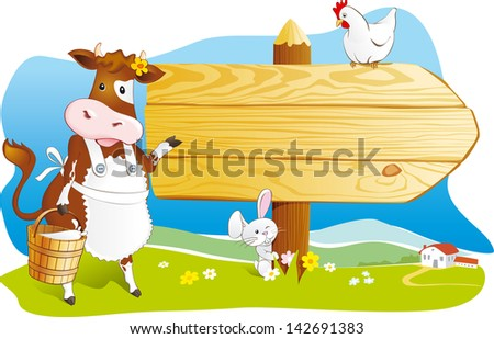 Cute cartoon cow with milk, rabbit and hen pointing wooden signboard. Space for text, countryside farm landscape. Vector illustration - stock vector