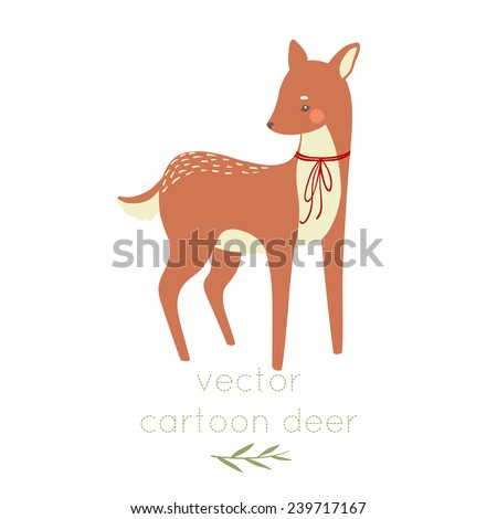 cute cartoon deer with bow tie on white background. can be used for greetings cards - stock vector