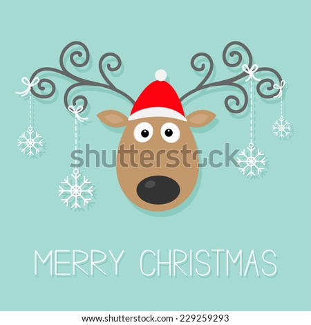 Cute cartoon deer with curly horns, red hat and hanging snowflakes. Merry christmas background card Flat design Vector illustration - stock vector