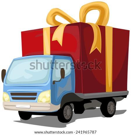 cute cartoon delivery truck, with giant gift box, isolated on white, vector illustration - stock vector