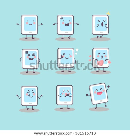 cute cartoon digital tablet pc set, great for your design - stock vector